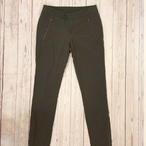 Athleta Nylon Zipper Ankle Slim Pants Green Sz 6
